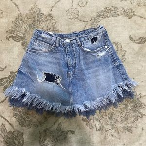 Zara TRF x IX'D Makers Distressed Denim Skort